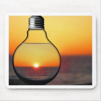 Yellow Sunrise Through a Lightbulb Modern Energy C Mouse Pad