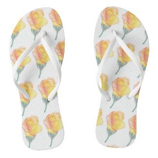 Yellow Sunset Rose Watercolor Flip Flops