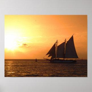 Yellow Sunset Sail Poster