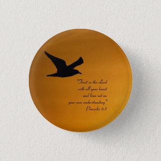 Yellow Sunset Sky Bird in Flight Faith Bible Verse Button