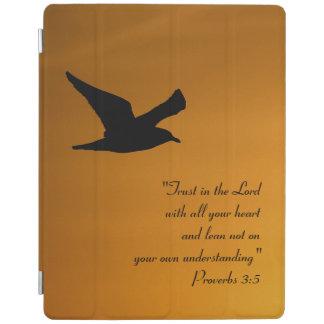 Yellow Sunset Sky Bird in Flight Faith Bible Verse iPad Smart Cover
