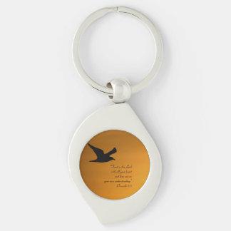 Yellow Sunset Sky Bird in Flight Faith Bible Verse Keychain
