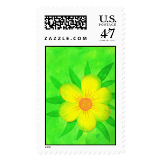Yellow sunshine flower on green postage stamps