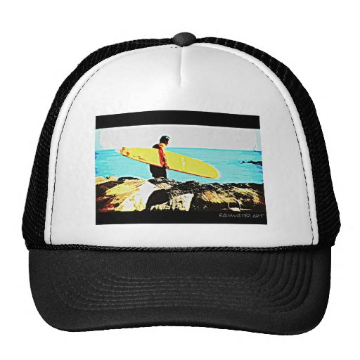 Yellow Surf Board Trucker Hat