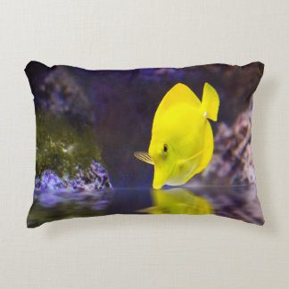 Yellow Surgeon fish looks at it's reflection Accent Pillow