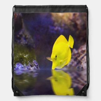 Yellow Surgeon fish looks at it's reflection Drawstring Bag