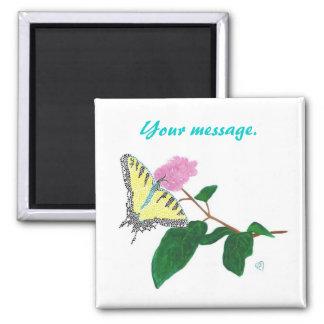 Yellow Swallowtail Butterfly Flower Custom Magnets