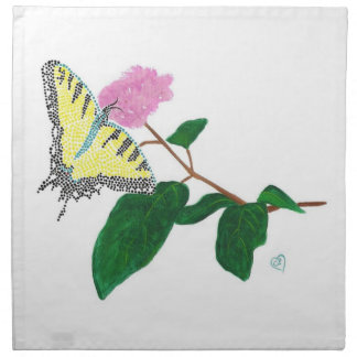 Yellow Swallowtail Butterfly Flower Napkins
