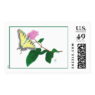 Yellow Swallowtail Butterfly Flower Postage Stamps