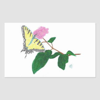 Yellow Swallowtail Butterfly Flower Stickers