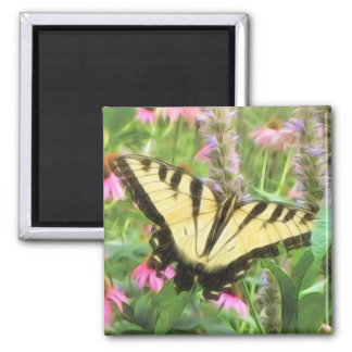 Yellow Swallowtail Butterfly in Summer Garden 2 Inch Square Magnet