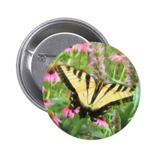Yellow Swallowtail Butterfly in Summer Garden Buttons