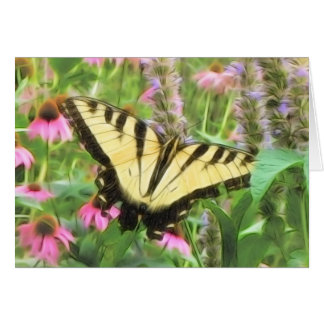 Yellow Swallowtail Butterfly in Summer Garden Card