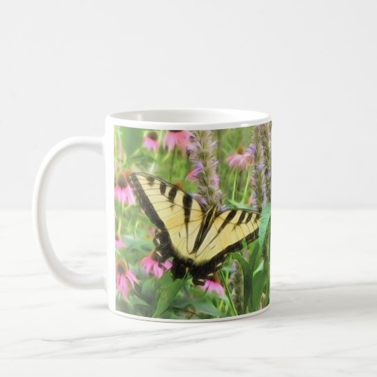 Yellow Swallowtail Butterfly in Summer Garden Coffee Mug