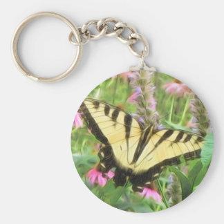 Yellow Swallowtail Butterfly in Summer Garden Keychain
