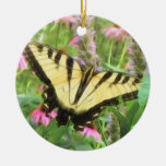 Yellow Swallowtail Butterfly in Summer Garden Double-Sided Ceramic Round Christmas Ornament