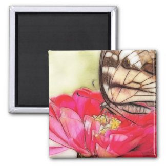 Yellow Swallowtail butterfly on a Zinnia 2 Inch Square Magnet