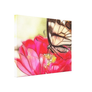 Yellow Swallowtail butterfly on a Zinnia Stretched Canvas Prints