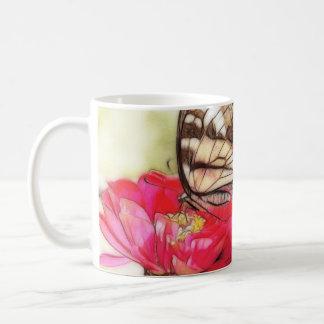 Yellow Swallowtail butterfly on a Zinnia Classic White Coffee Mug