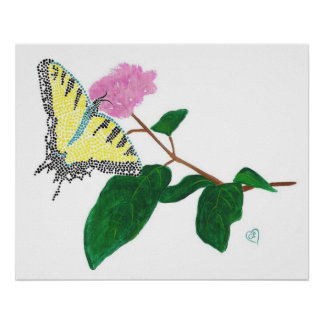 Yellow Swallowtail Butterfly on Flower Poster
