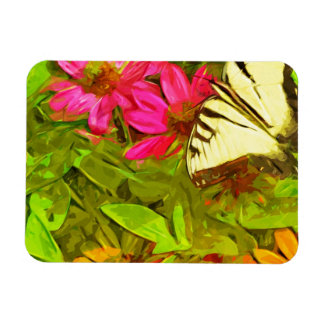 Yellow Swallowtail Butterfly on Flowers Abstract Rectangular Photo Magnet