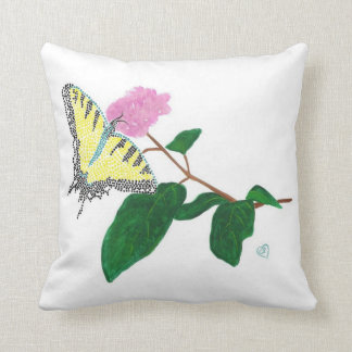 Yellow Swallowtail Butterfly on Pink Flower Pillow
