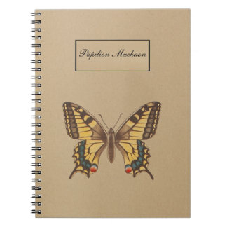 Yellow swallowtail butterfly - Papilio Machaon Spiral Notebook