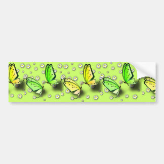 Yellow Swallowtails And Daisies in 3D Car Bumper Sticker