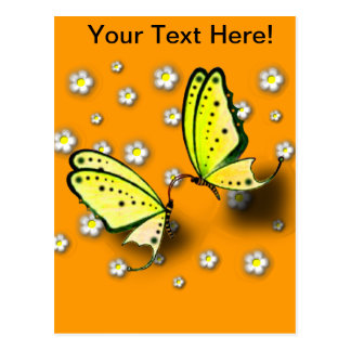 Yellow Swallowtails And Daisies in 3D Postcard