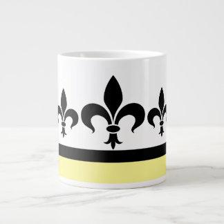 Yellow Swanky Fleur De Lis Jumbo Mug