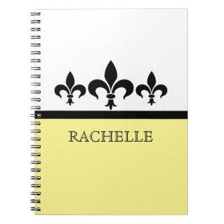 Yellow Swanky Fleur De Lis Notebook