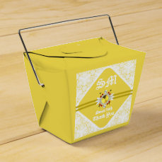 Yellow Sweet 16th Take Out Favor Box W/ WF