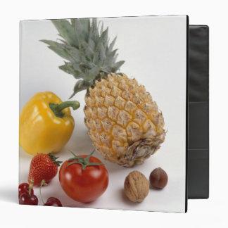 Yellow sweet pepper, tomato, pineapple, 3 ring binder