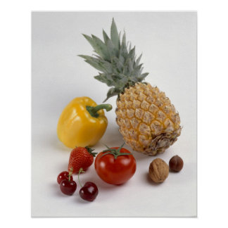Yellow sweet pepper, tomato, pineapple, poster