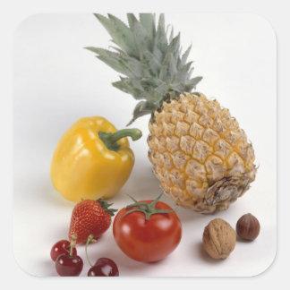 Yellow sweet pepper, tomato, pineapple, square sticker