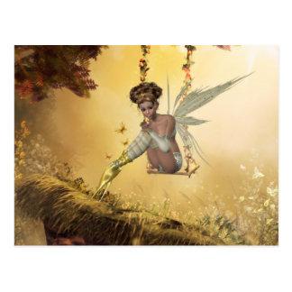 Yellow Swinging Fairy Postcard
