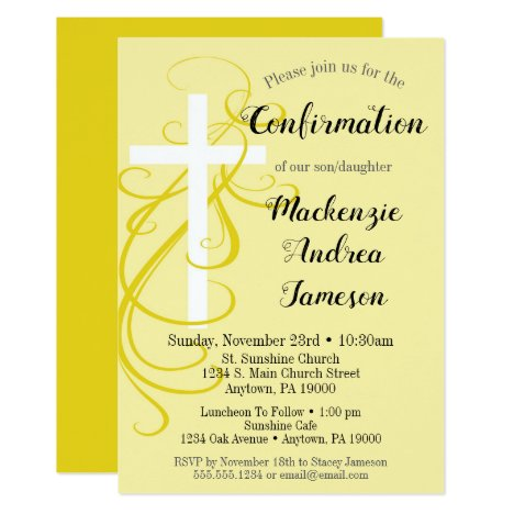Yellow Swirl Cross Confirmation Invitation