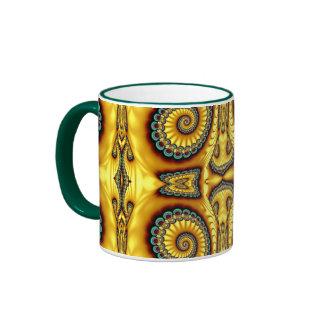 Yellow Swirl in Abstract Ringer Mug