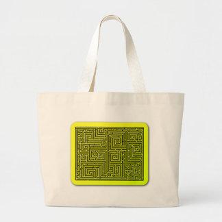 Yellow Swirl Maze Canvas Bags
