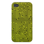 Yellow Swirl Maze Case for iphone 4