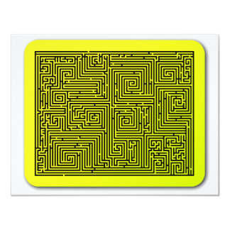 Yellow Swirl Maze Personalized Announcements