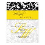 Yellow Swirl Monogram Rehearsal Dinner Card Custom Invite