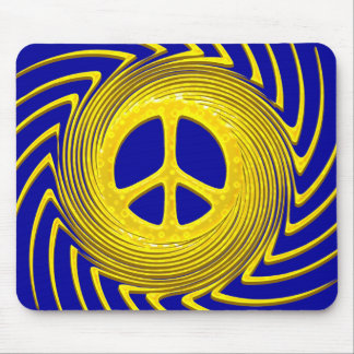 Yellow Swirl Peace Sign Mouse Pad