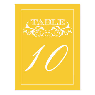 Yellow Swirl Vintage Wedding Table Number Cards