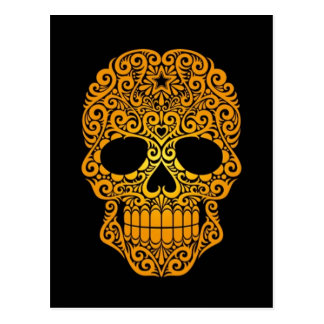Yellow Swirling Sugar Skull on Black Post Cards