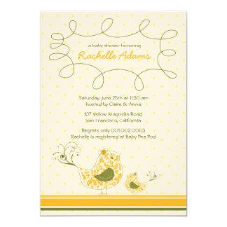 Yellow Swirly Mom & Baby Bird Baby Shower Invitati Card