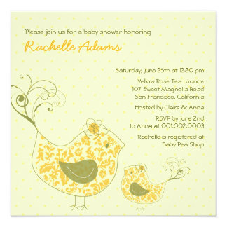 """Yellow Swirly Mom & Baby Bird Baby Shower Invite 5.25"""" Square Invitation Card"""