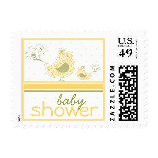 Yellow Swirly Mom & Baby Bird Baby Shower Stamps