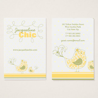 Yellow Swirly Whimsical Birds Custom Business Card