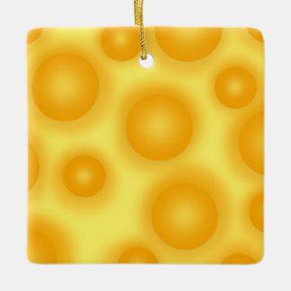 Yellow Swiss Cheese Ceramic Ornament